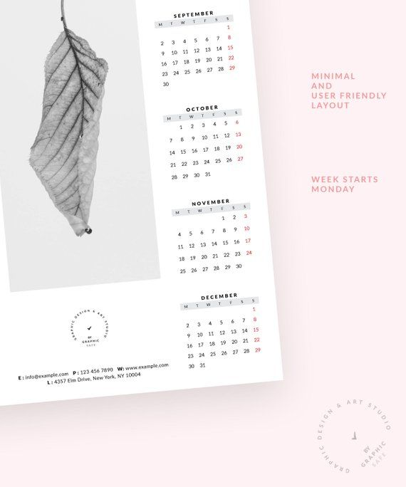 Calendrier One Piece 2020.Wall Calendar 2019 2020 Minimalist One Page Tabloid Size