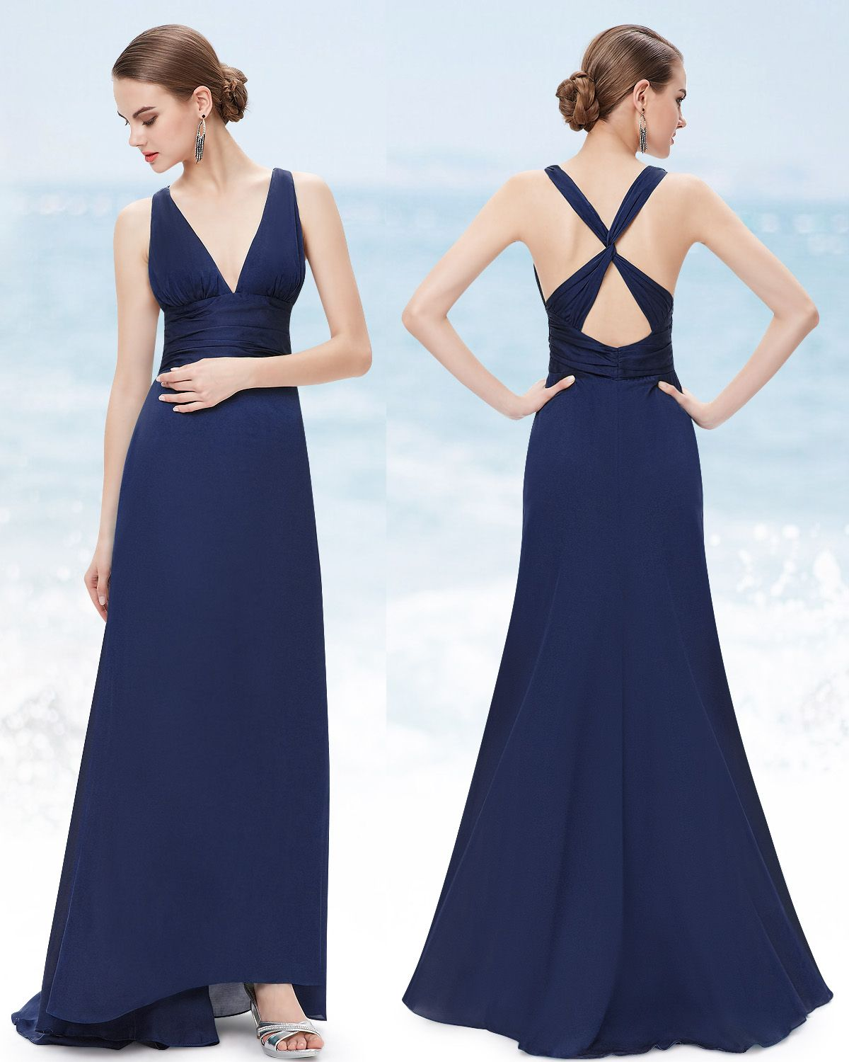 Open Back Long Party Dress | Navy blue, Elegant and Navy