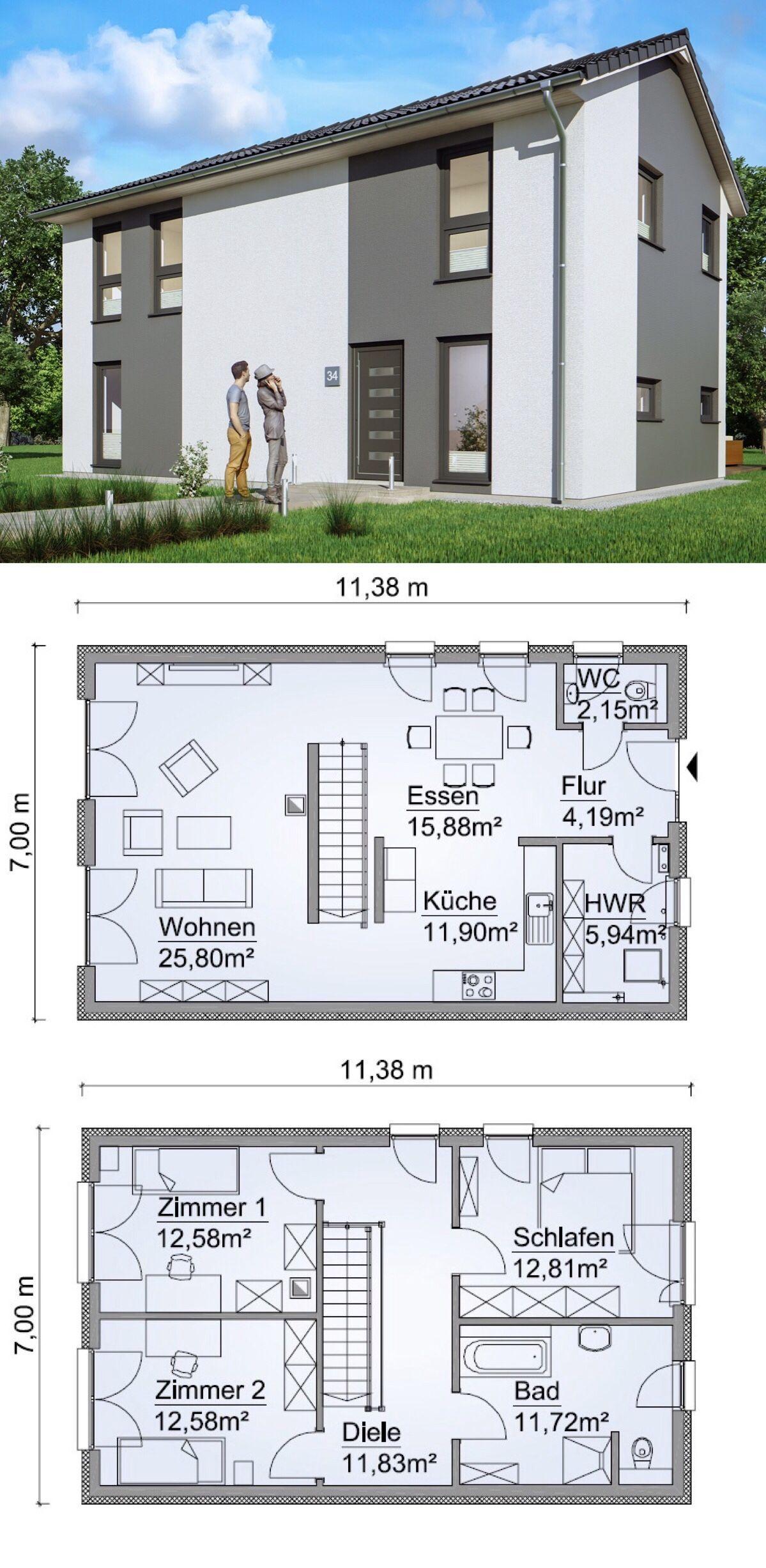 Einfamilienhaus Neubau Modern Mit Satteldach Architektur Grundriss Schmal Gerade Treppe Kuche Offen 4 Z Einfamilienhaus Architektur Haus Design Satteldach