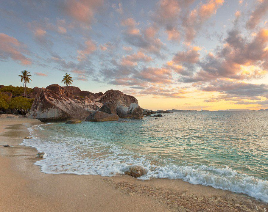 Caribbean Waves Washing Mural Wallpaper Beach scene