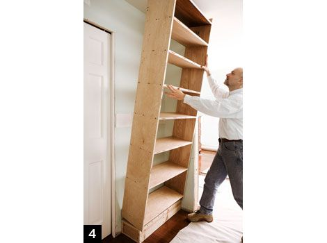 how to build a built in bookcase step by step wookworking. Black Bedroom Furniture Sets. Home Design Ideas