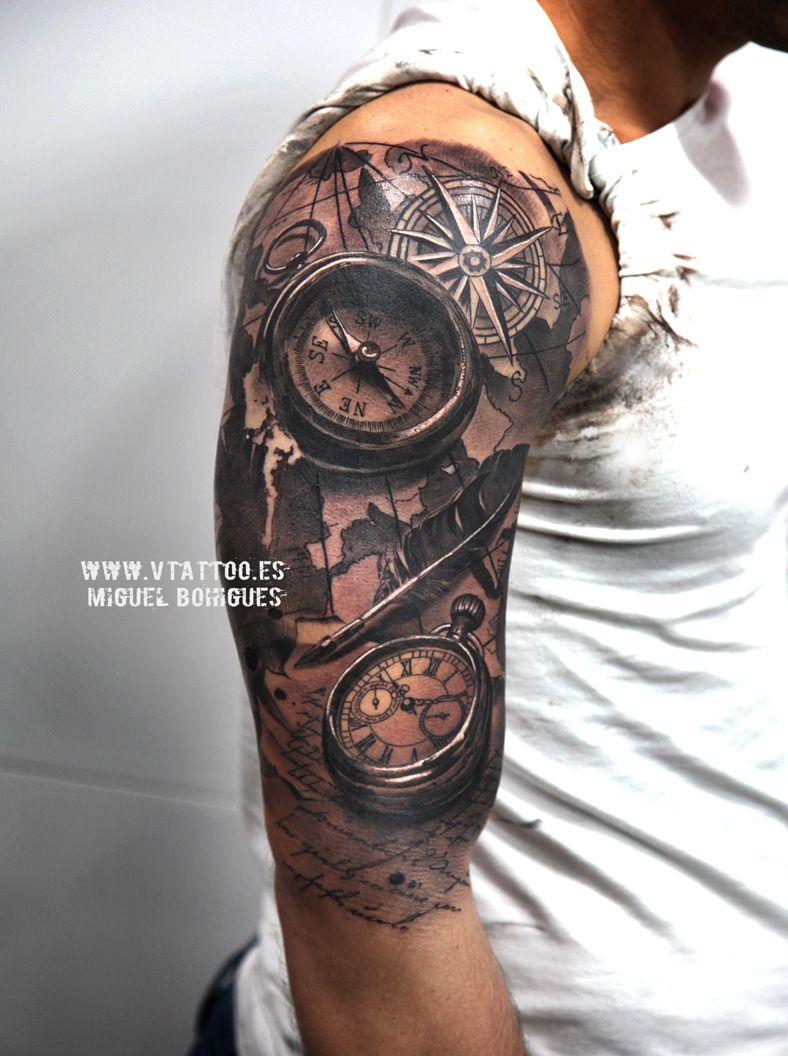 V Tattoo Brujula Y Reloj Copia Tattoo Tatuaje Realista
