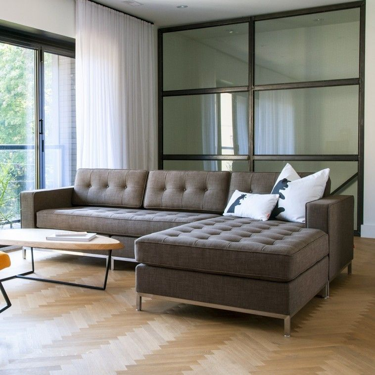 Furniture Grey Upholstered Tufted Sectional Sofa With Chrome Metal Legs Plus Oval Woo Modern Sofa Sectional Contemporary Sectional Sofa Sofas For Small Spaces
