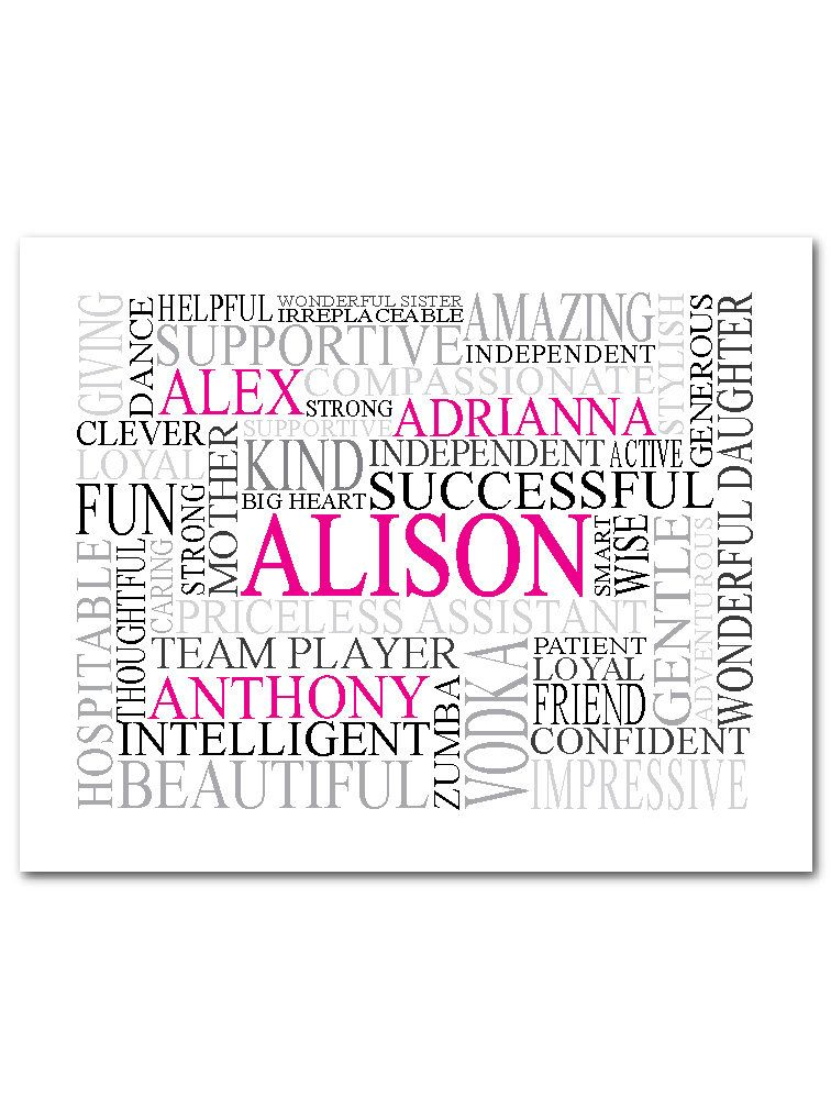 Personalised Word Cloud Running Lady Gift for Her Wall Art Customised Prints