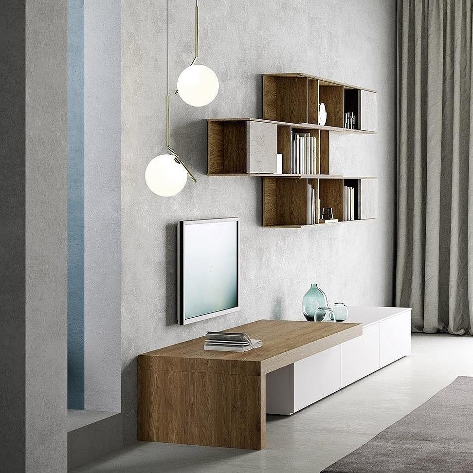 Die Design Wohnwand Von Novamobili Mit Geradlinigem Design Und Viel Holz. # Wohnwand #Wohnzimmer