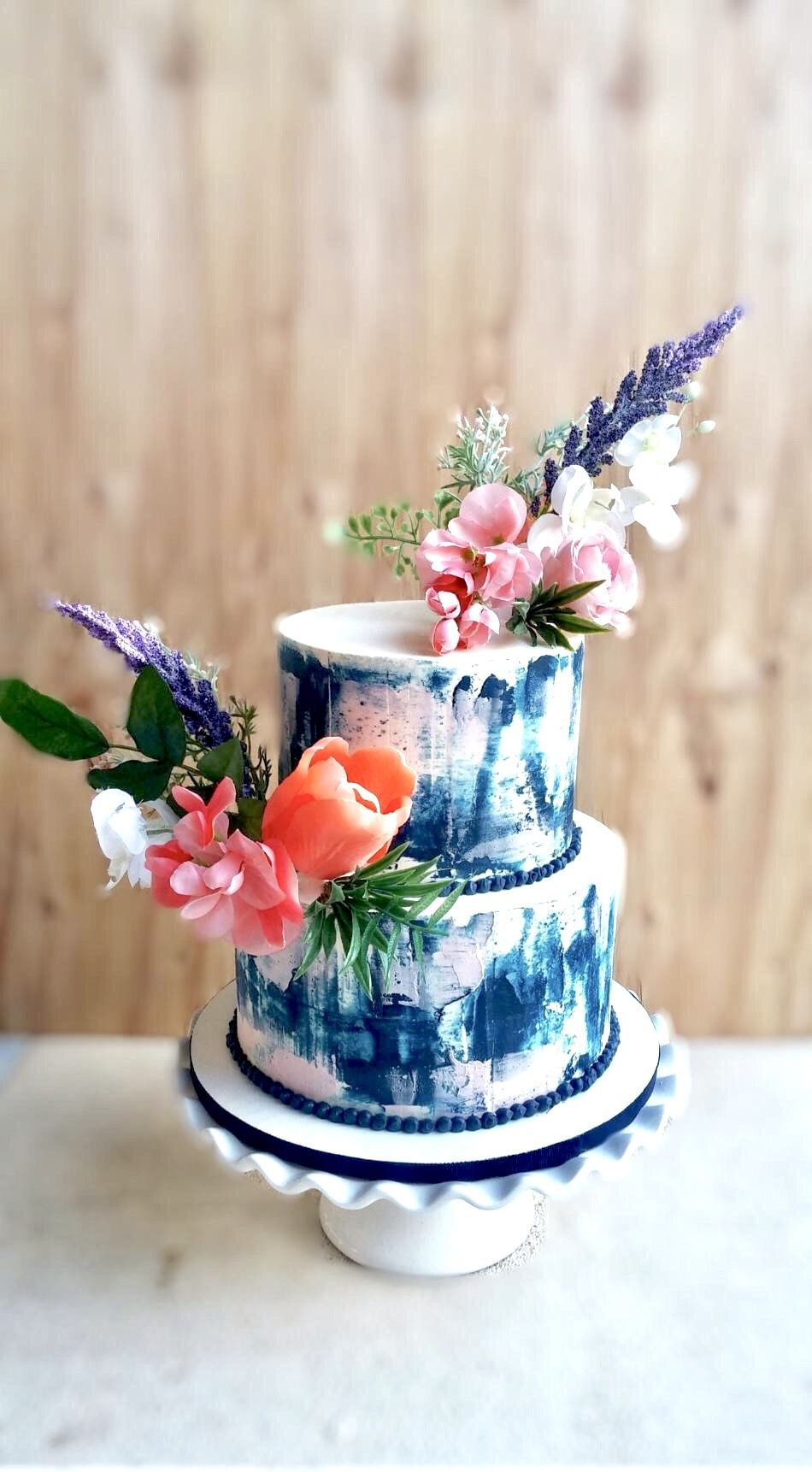 Buttercream Watercolor Cake Navy And Blush Wedding Watercolor
