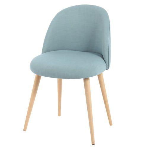 Chaise vintage en tissu et bouleau massif bleue ET - Déco