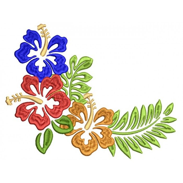 Tropical Summer Hibiscus Filled Machine Embroidery Design Digitized Pattern Machine Embroidery Designs Machine Embroidery Hand Embroidery Designs