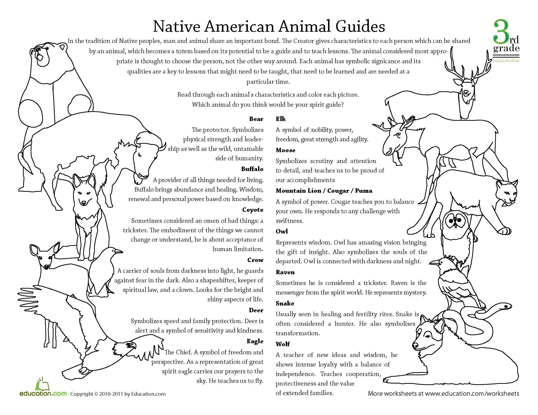 Worksheets American Symbols Worksheet spirit animal meanings httpwww education comworksheet articlenative american g
