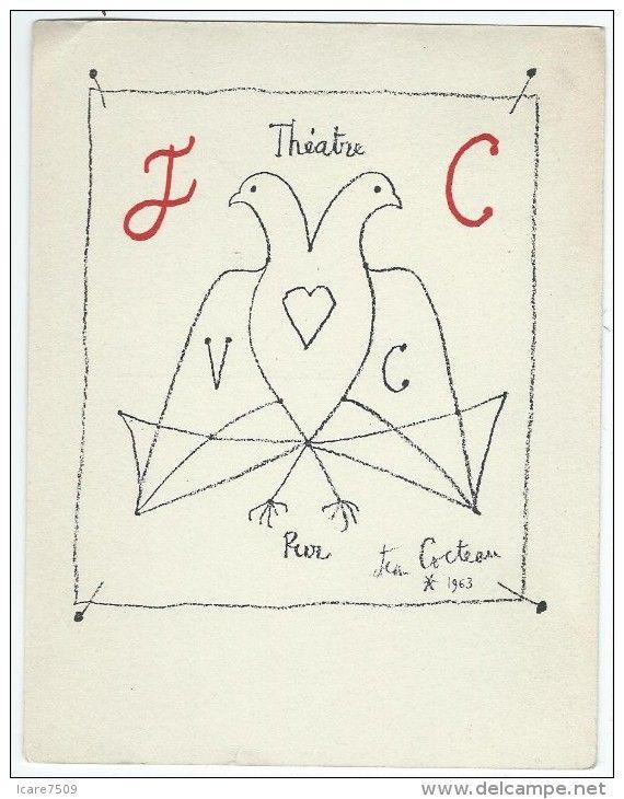 Dessin de Jean COCTEAU 1963- Carte Postale en hommage à Jacques COPEAU à l'occasion du cinquantenaire du Vieux Colombier