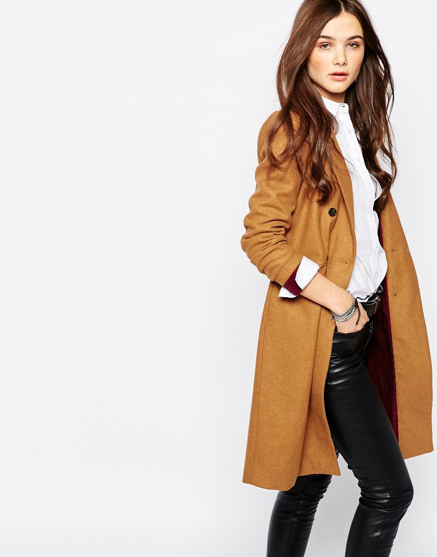 4bf11d86672 Image 1 of Pull Bear Double Breasted Camel Coat