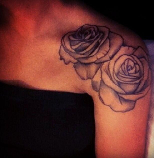 d2cfc8643 Double rose tat Rose On Shoulder Tattoo, Cute Shoulder Tattoos, Upper  Shoulder Tattoos,