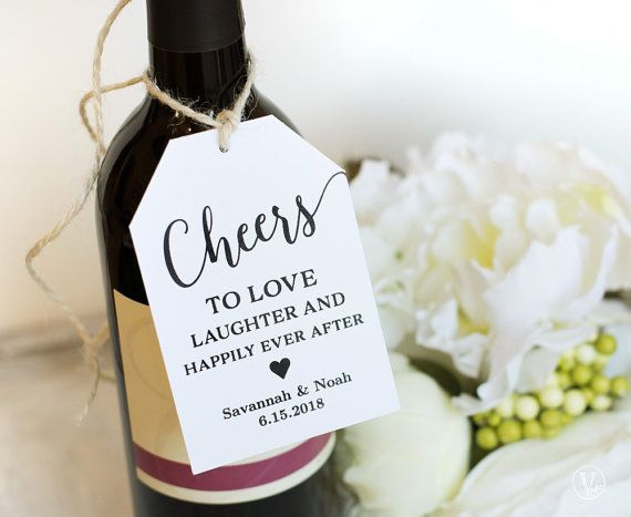 graphic about Printable Wedding Favor Tags known as Wine Tags, Printable Marriage ceremony Prefer Tags Template, Cheers