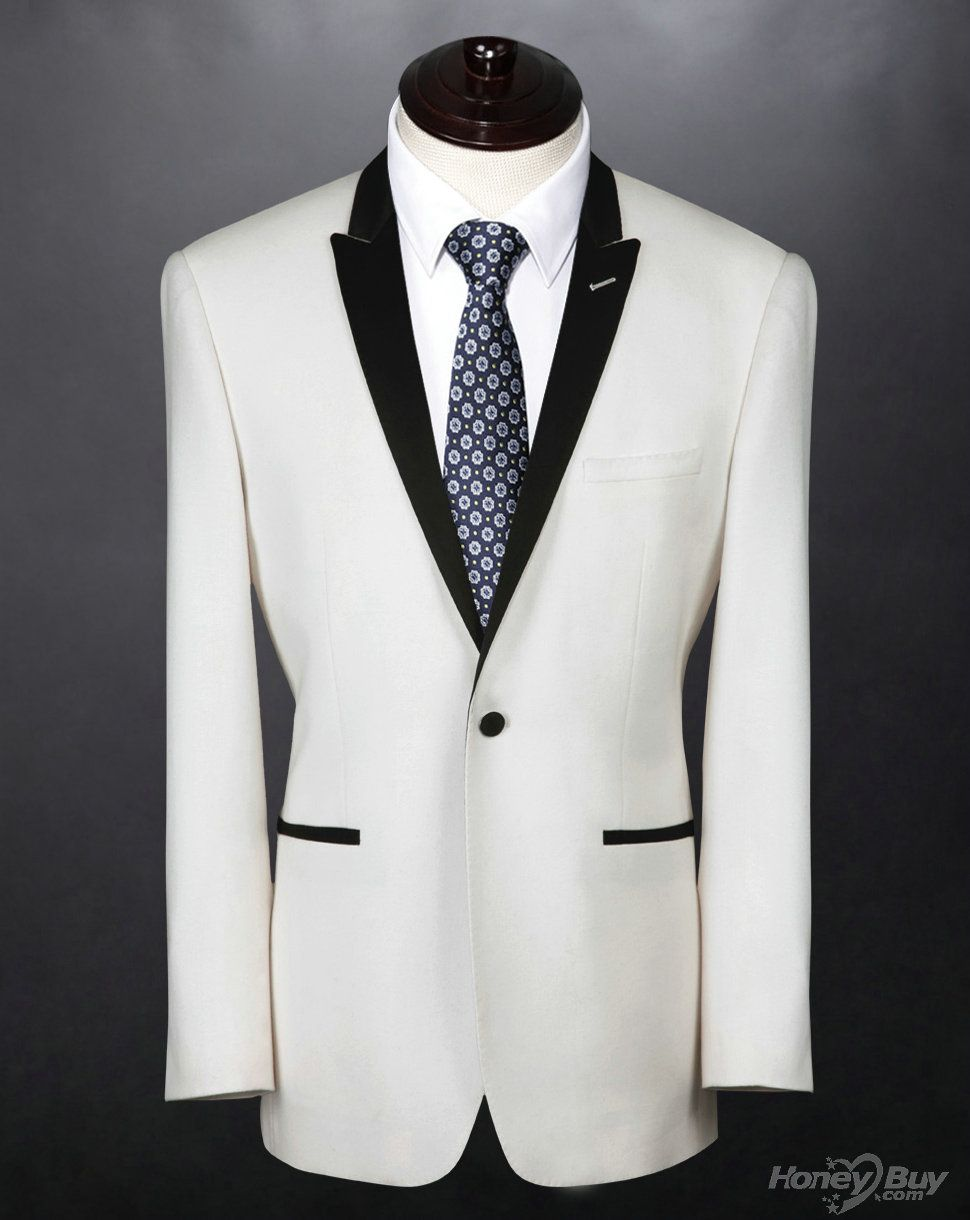 Royal White Peaked Lapel One button Classic Tidy Romantic Groom ...