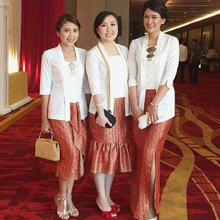 Model Kebaya Kutubaru Warna Putih Dengan Rok Batik Baju Untuk