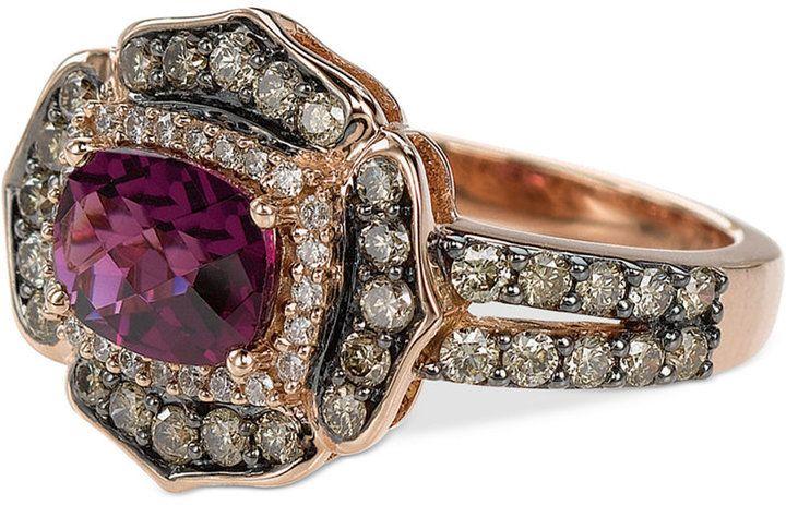 Le Vian Chocolatier® Rhodolite Garnet (1-1/2 ct. t.w.) and Diamond (9/10 ct. t.w.) Ring in 14k Rose Gold