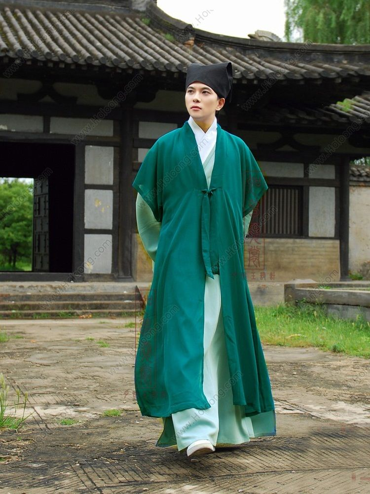 green halfsleeve handsome tang dynasty hanfu clothing