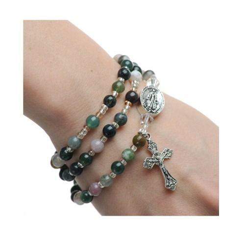 Indian Agate Style Rosary Wrap Bracelet #rosaryjewelry