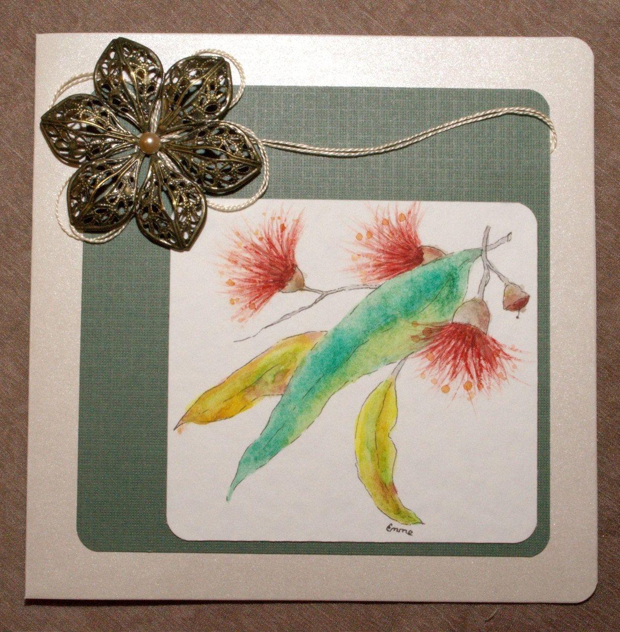 Original hand painted watercolour gum leaves & flowers Blank Greeting Card. Bronze ornate metal flower and embroidery thread. OOAK.