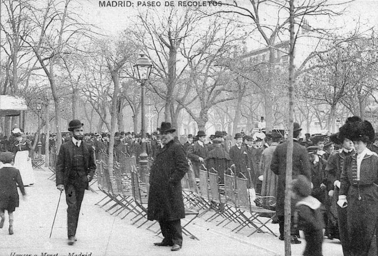 Paseo de Recoletos, en Madrid. Finales del siglo XIX