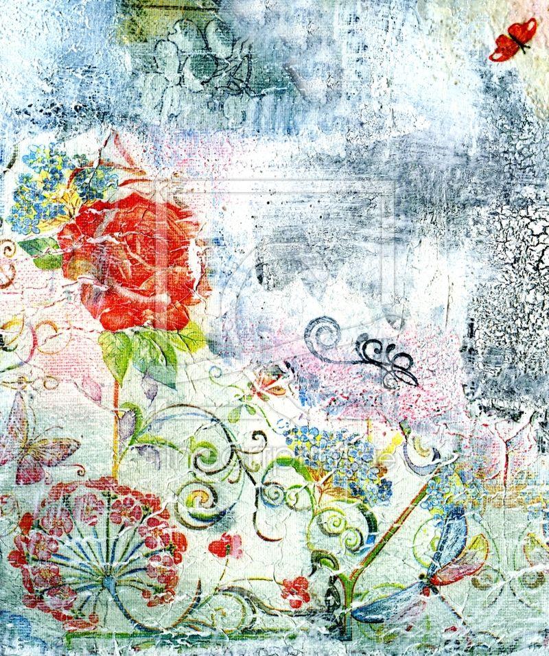 Malerei, Collage, Serviettentechnik,Blumen,Leinwanddruck,Kunst,Blumenbild