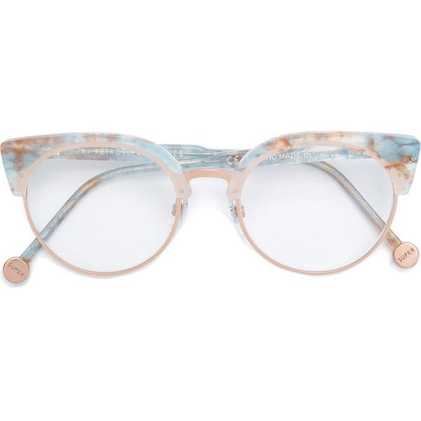 Retrosuperfuture marble framed glasses featuring polyvore, women\'s ...