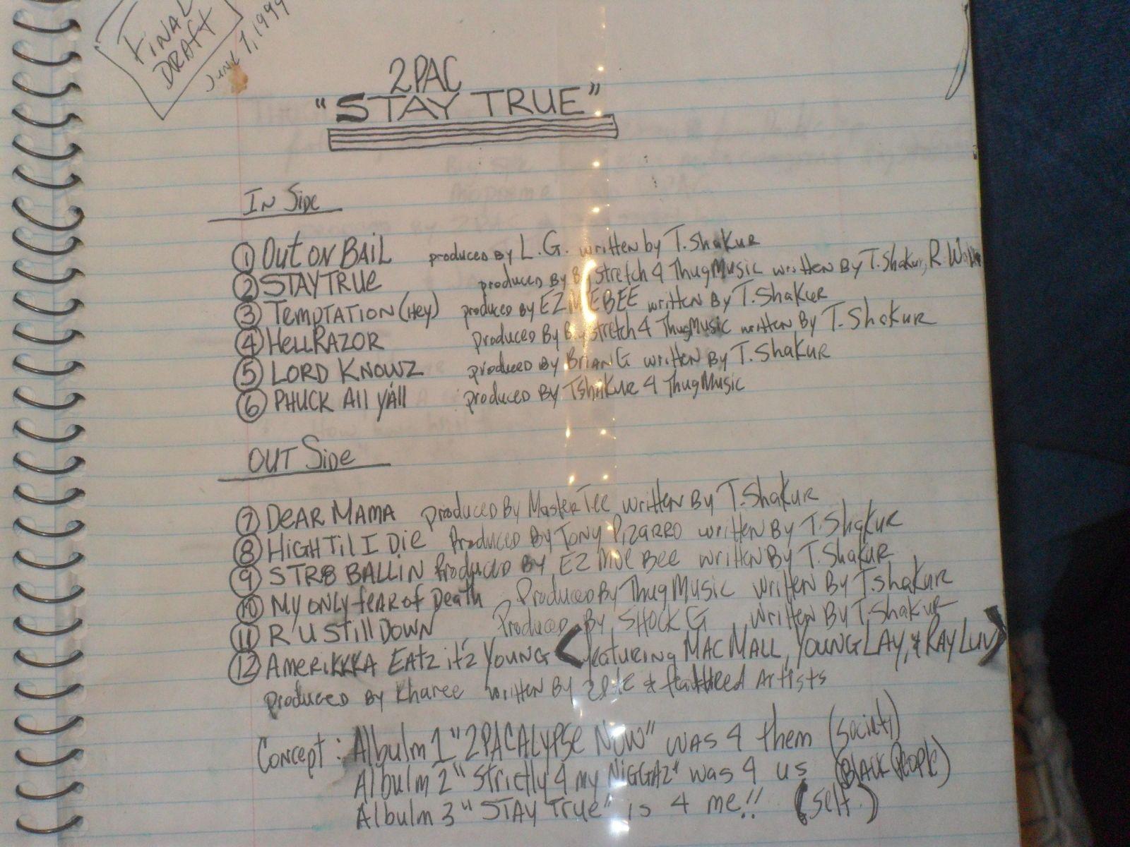 2pac S Handwritten Tracklist Of Stay True 1994 2pac Stay True