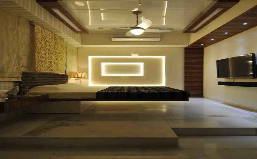 Luxury Bedroom With Neon Lights By Sonali Shah Architect In