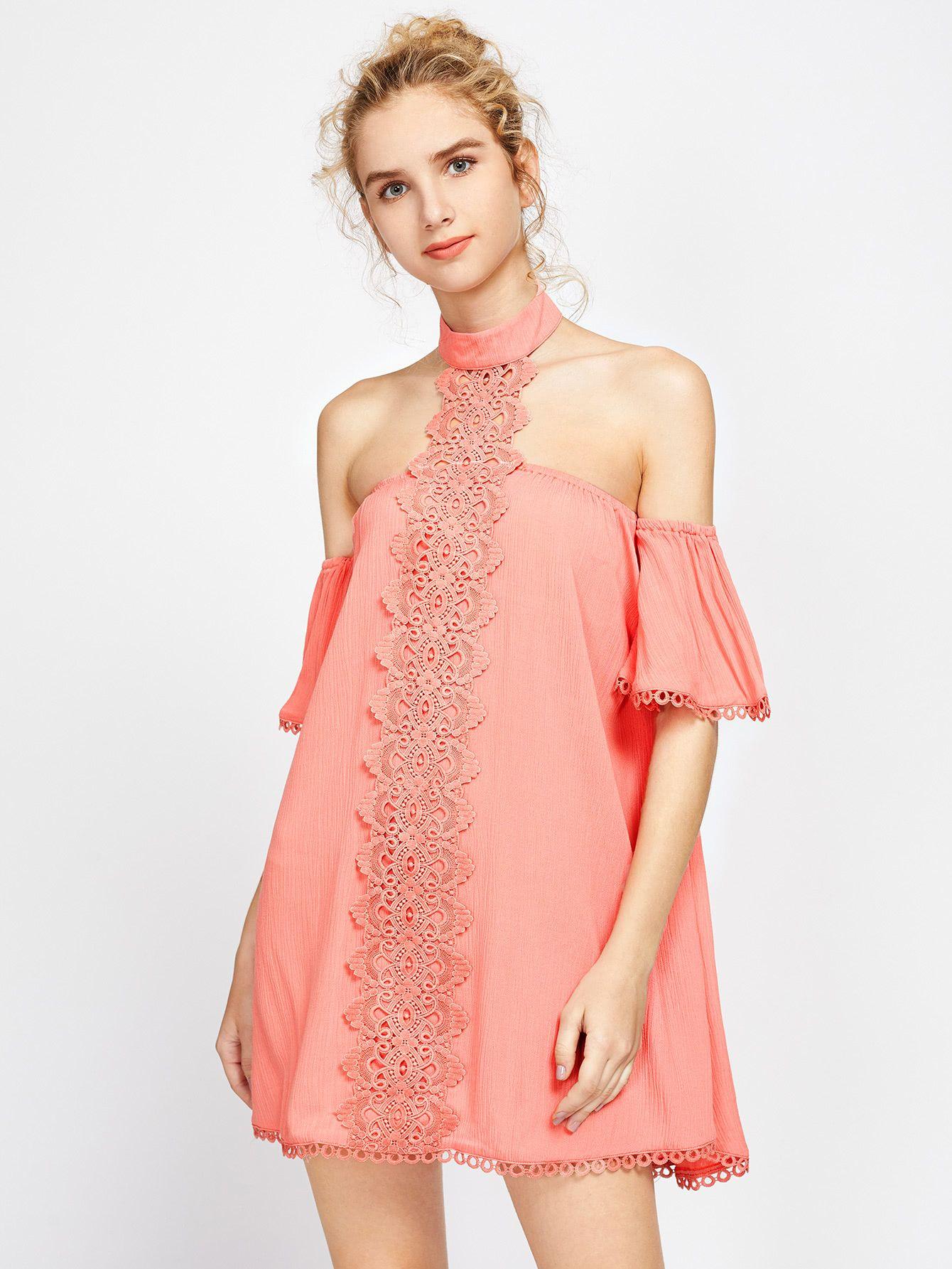 cd1ffe60de Off Shoulder Lace Trim Halter Neck Dress -SheIn(Sheinside) | Fashion ...
