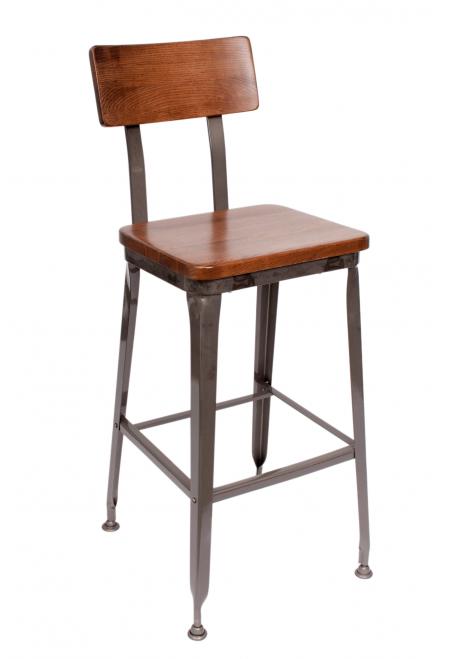 Octane Industrial Metal Bar Stool Wood Seat