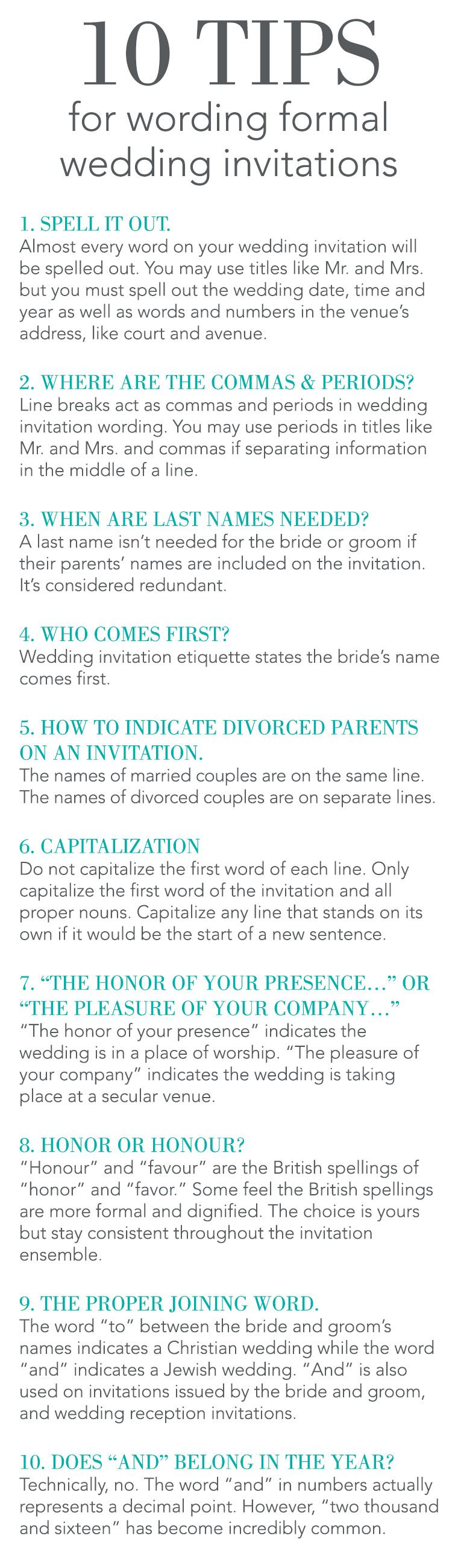 Hosting a formal wedding, but are uncertain how to word