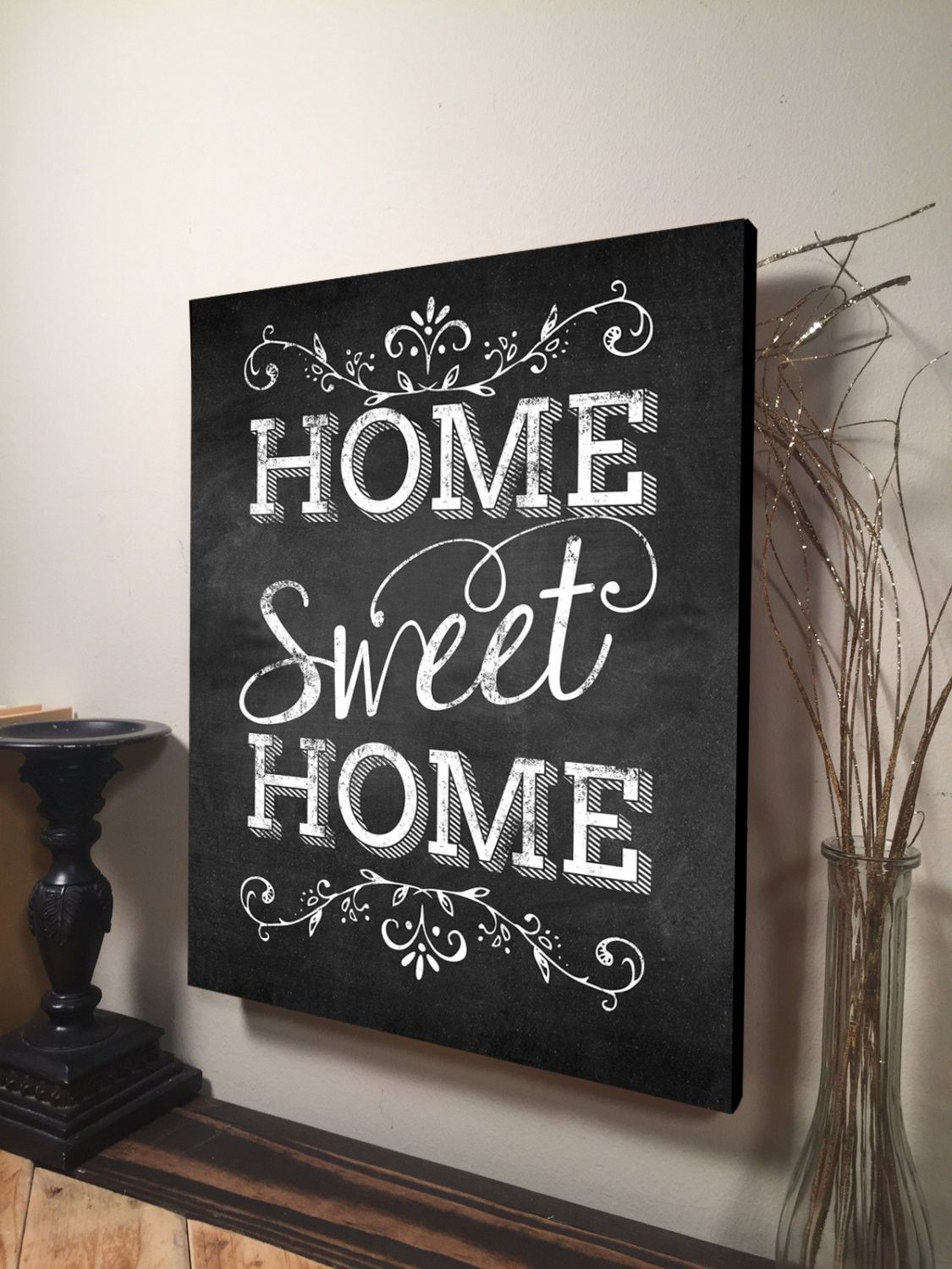 Home sweet home sign inspirational quote family quote for Home decor quotes signs