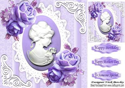Pretty purple roses with cameo on vintage lace 8x8 on Craftsuprint - Add To Basket!