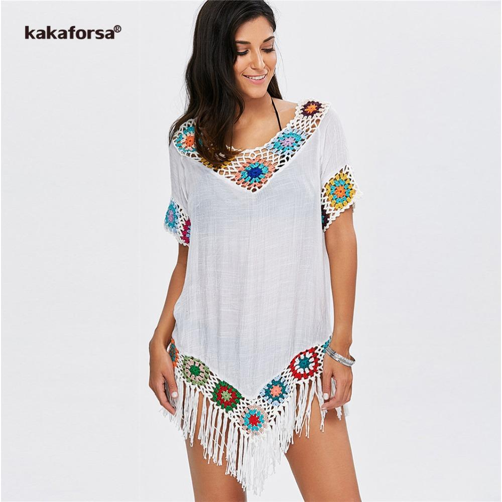 600ee838a70d4 Kakaforsa 2018 Sexy Crochet Beach Cover Up Tassel Summer Beach Dress Cotton Knitted  Swimsuit Bikini Cover Up saida de praia