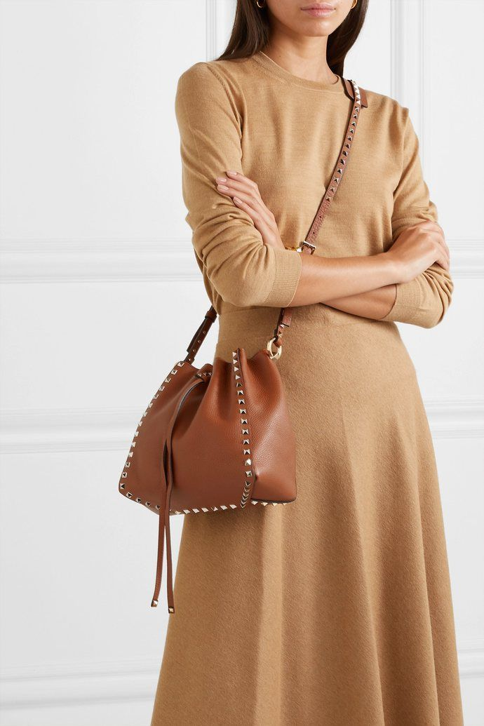 Valentino Garavani Rockstud Small Textured Leather Bucket Bag Selleria The Urge Us Bucket Bag Leather Bucket Bag Fashion
