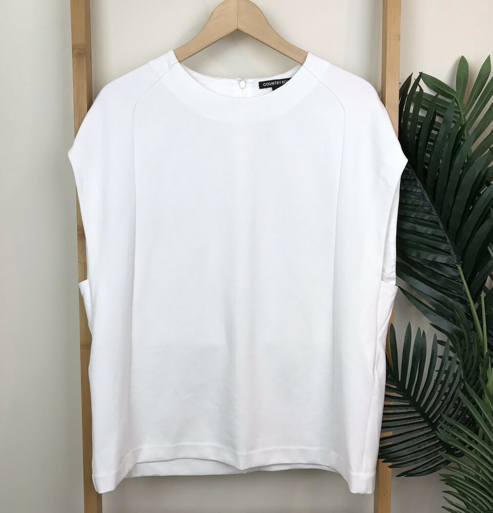 4238a28050bd60 Country Road White Blouse Top Size XS Relaxed Short Sleeve Work Evening  Womens  fashion