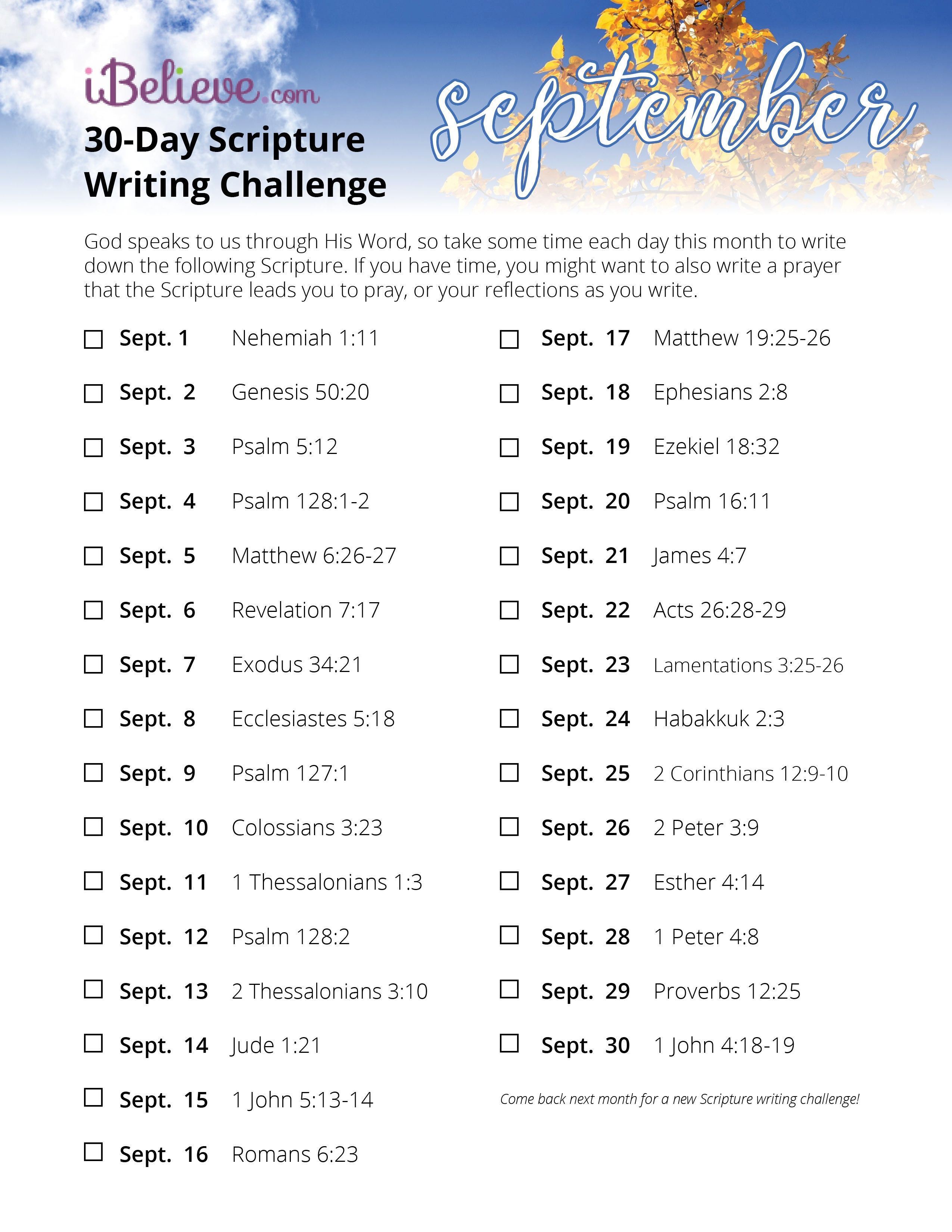 Writing Guide September Scripture Writing Guide 2018 Inside Ibelieve Bible