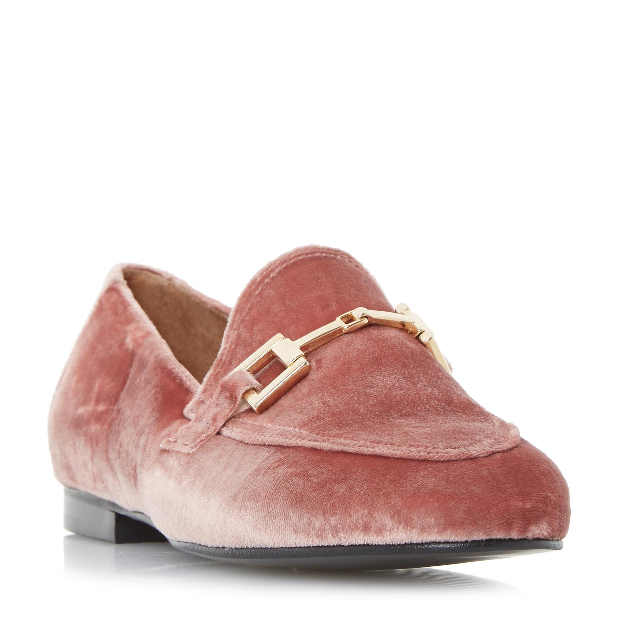 7a230ee0ae3 DUNE LADIES GURU - Metal Saddle Trim Loafer Shoe - pink velvet ...