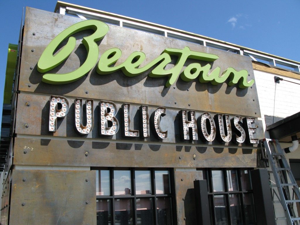 custom restaurant sign design beertown sign modern pub sign the sign depot design. Black Bedroom Furniture Sets. Home Design Ideas