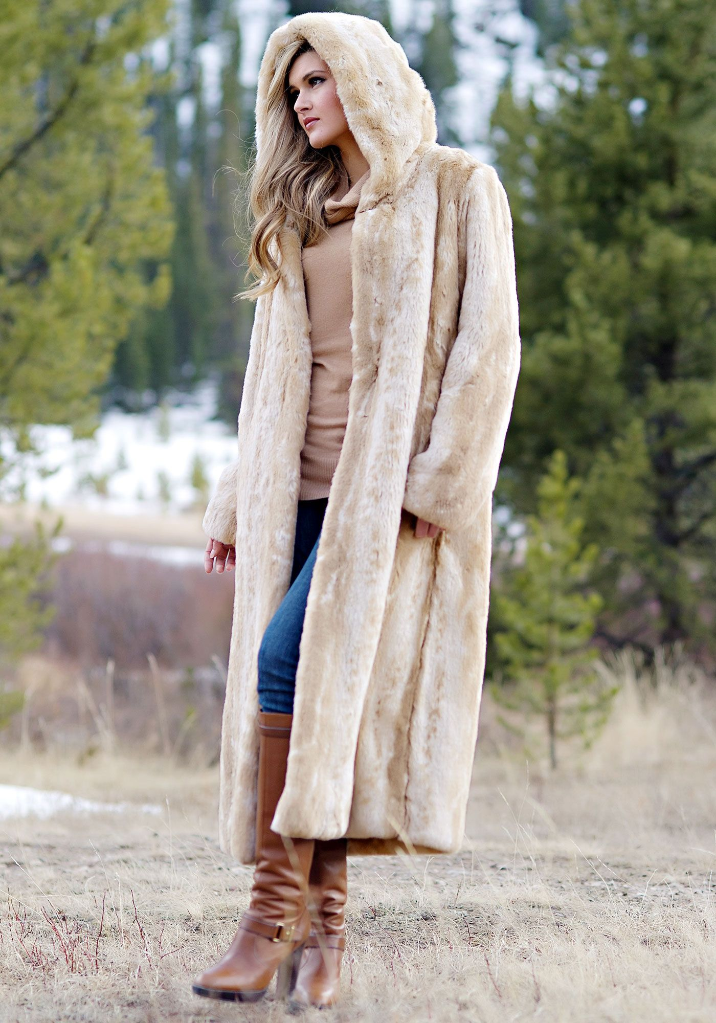 Blonde Mink Full-Length Hooded Faux Fur Coat | Coats, Fur and Blondes