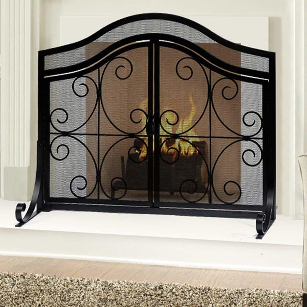 Fireplace Safety Screen Door Black Fire Guard Wrought Iron Ornamental Scroll New F Wrought Iron Fireplace Screen Fireplace Screens With Doors Fireplace Screen
