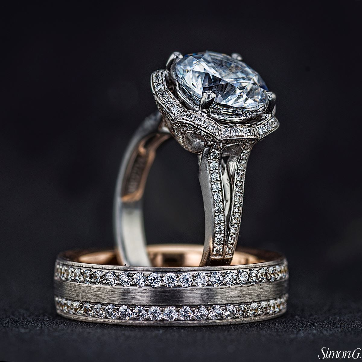 Get your engagement ring and wedding bands from Simon G with us in
