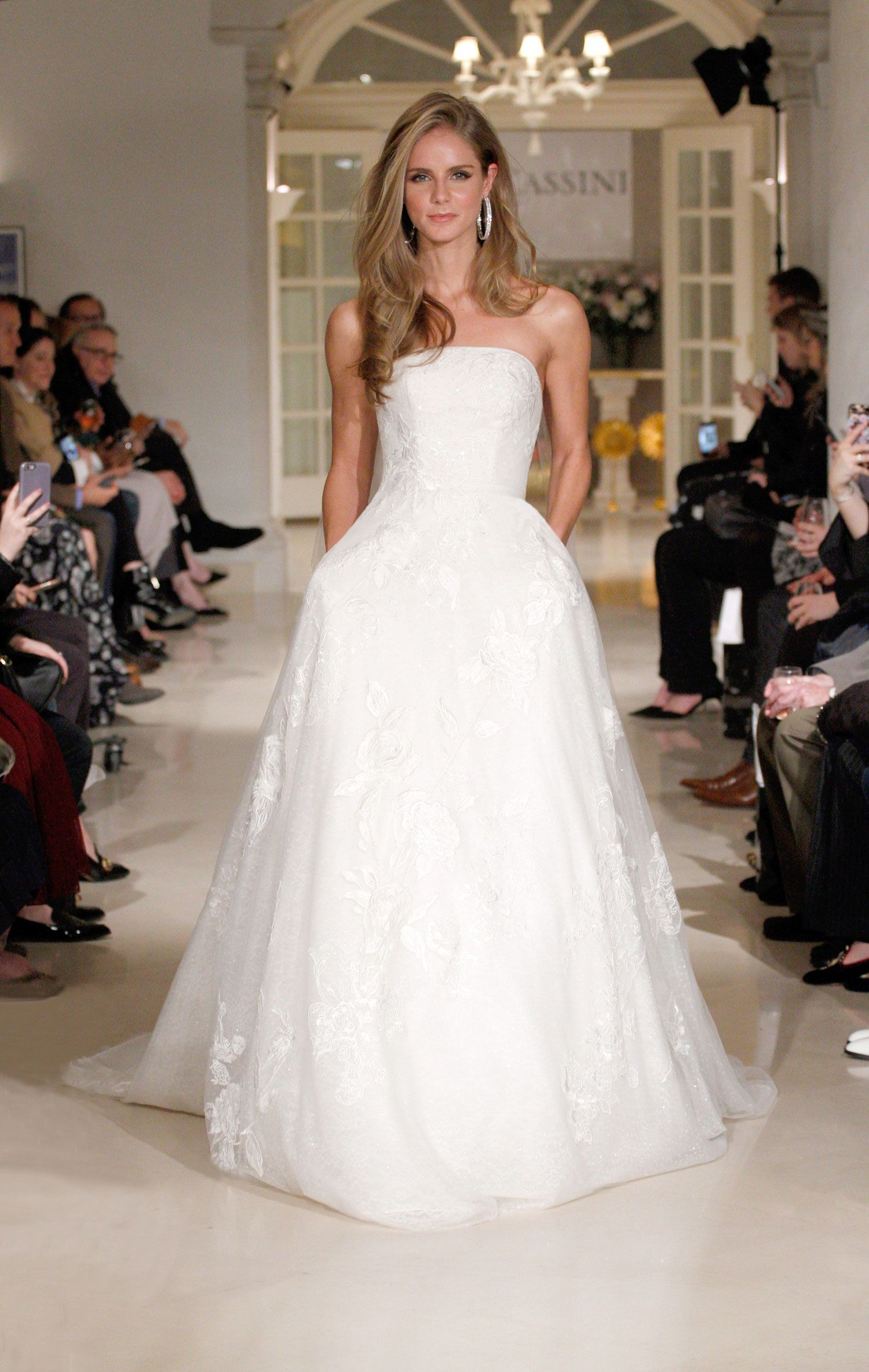 a0a0522a6112 Oleg Cassini ball gown strapless dress pockets royal wedding inspired  bridal gown