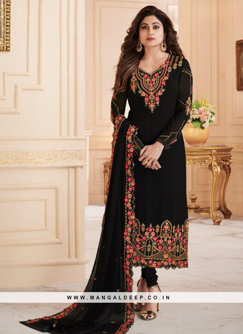 89580a19ac Charming Black Color Designer Party Wear Georgette Suit #black  #salwarkameez #georgette