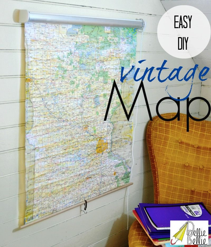 How to make a vintage roll-up map (from a shade) | + DIY Ideas ...