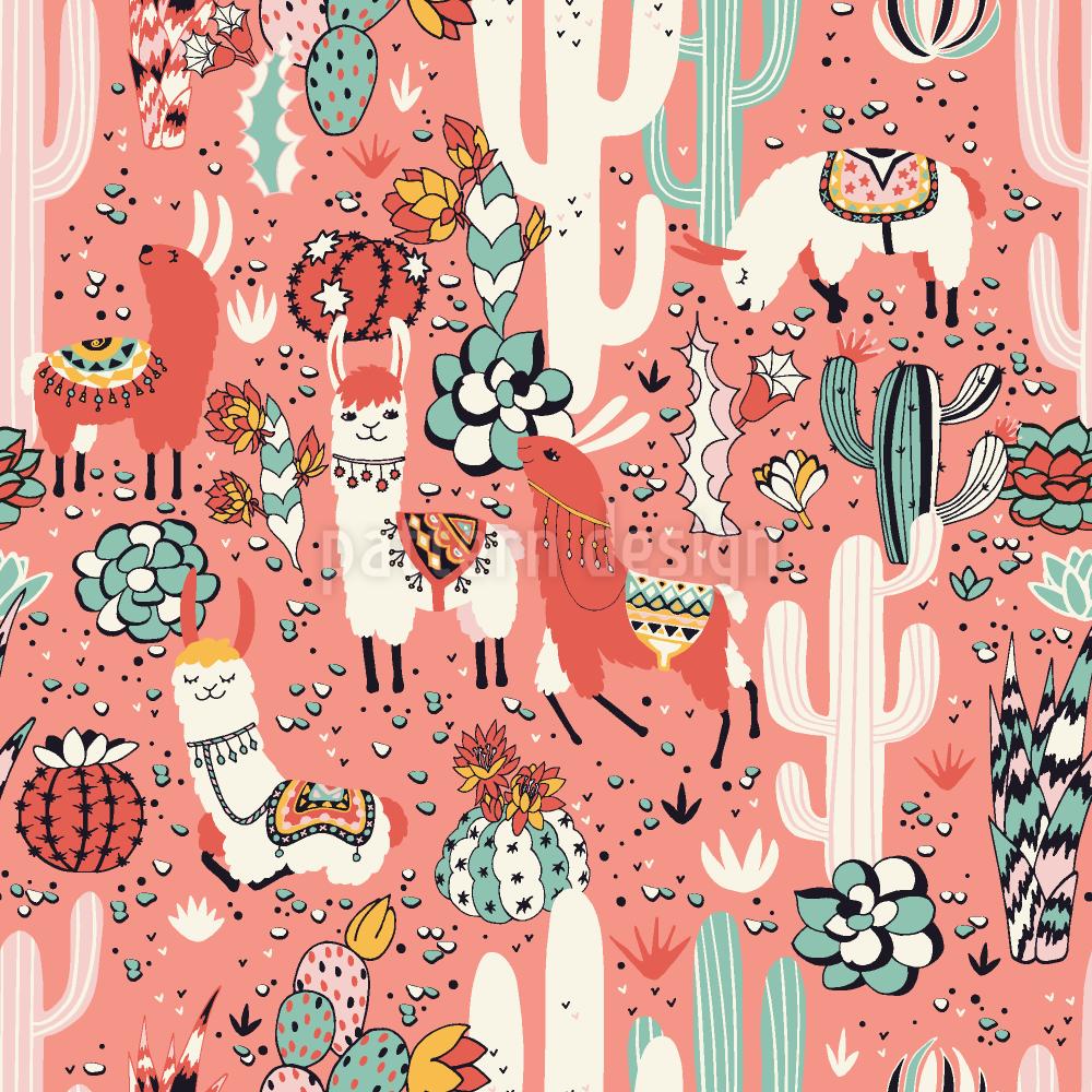 Lamas Im Kaktus Dschungel by Lidiebug,patterndesigns.com ...