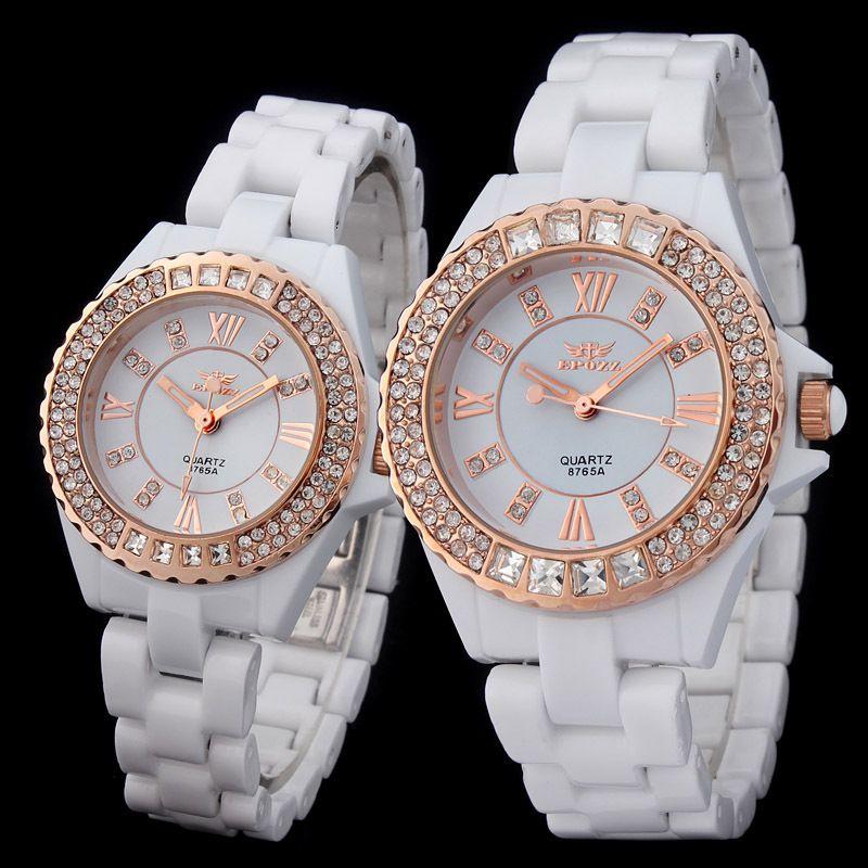 relojes de mujeres marca rosado de diseno reloj blanco de ceramica de cuarzo incrustado con dimante