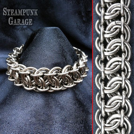 Nordic Bracelet Stainless Steel Heavy Chain Bracelet Candy Cane Cord Chunky Jewelry Gift for Men Mens Large Bracelet Viking Chain Mail