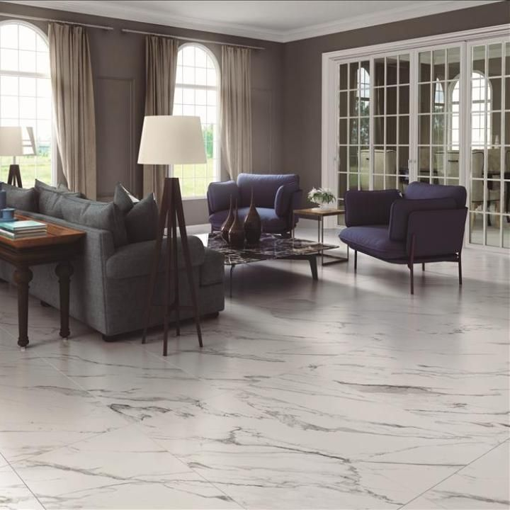 Large Living Room Design Ideas That Can Be Felt More Stylish: Hera Marble Effect Tiles - White Tiles