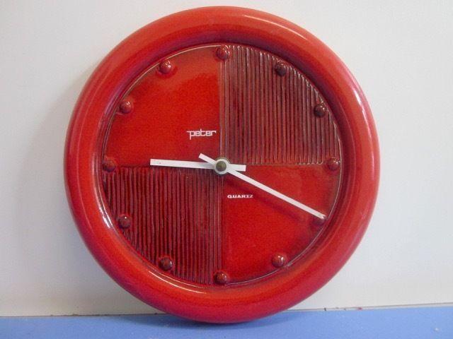 Rote Küchenuhr ~ Peter automatic küchenuhr wanduhr keramik wgp 60er 70er selten in